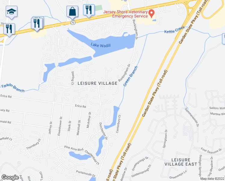 map of restaurants, bars, coffee shops, grocery stores, and more near 61D Buckingham Drive in Lakewood Township