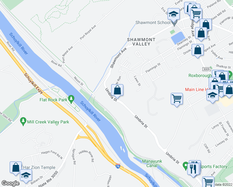 map of restaurants, bars, coffee shops, grocery stores, and more near 300 Autumn River Run in Philadelphia