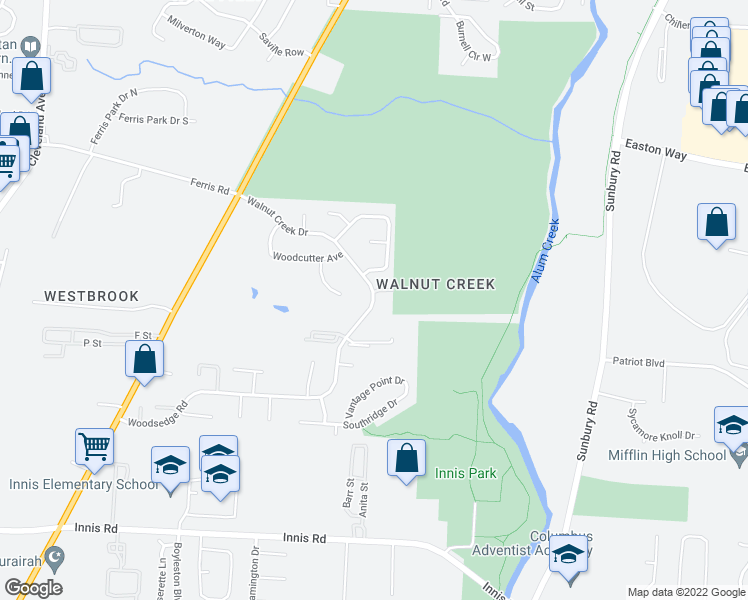 map of restaurants, bars, coffee shops, grocery stores, and more near 3650 Walnut Creek Dr in Columbus