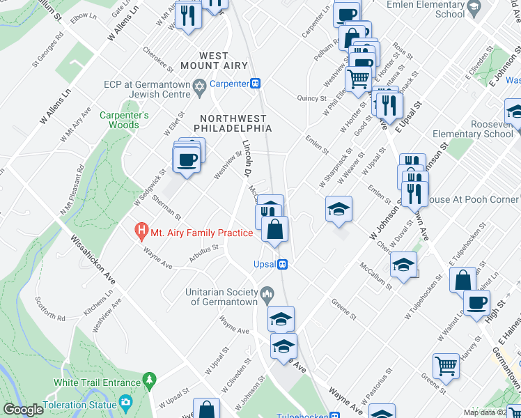 map of restaurants, bars, coffee shops, grocery stores, and more near 6642 McCallum Street in Philadelphia