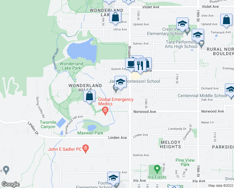 map of restaurants, bars, coffee shops, grocery stores, and more near in Boulder