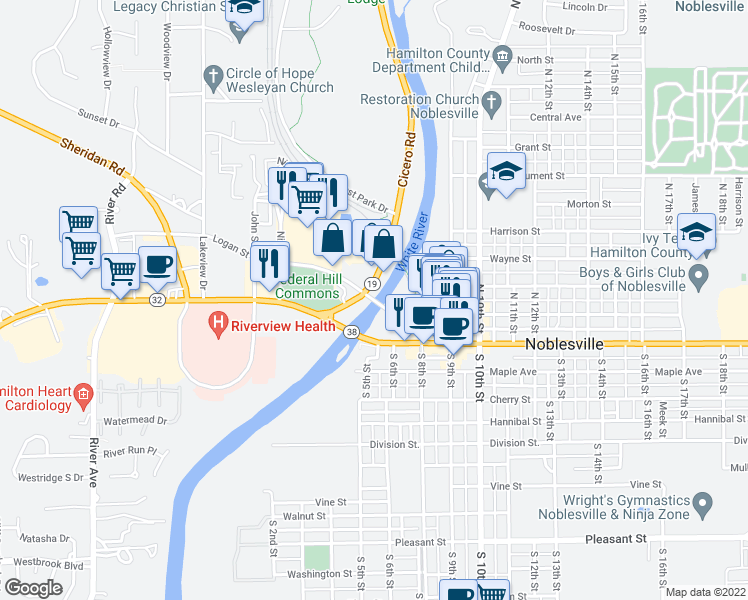 map of restaurants, bars, coffee shops, grocery stores, and more near Logan Street in Noblesville