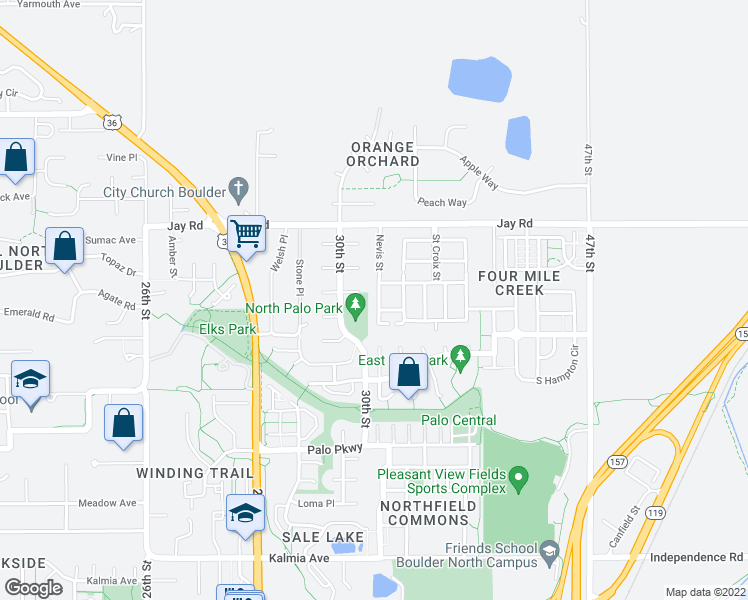 map of restaurants, bars, coffee shops, grocery stores, and more near 4059 Nevis Street in Boulder
