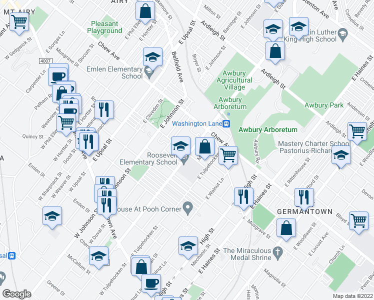 map of restaurants, bars, coffee shops, grocery stores, and more near 503 East Washington Lane in Philadelphia