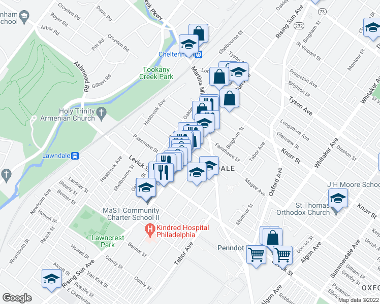 map of restaurants, bars, coffee shops, grocery stores, and more near Rising Sun Avenue & Gilham Street in Philadelphia