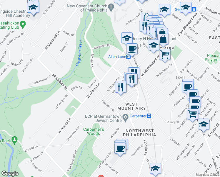 map of restaurants, bars, coffee shops, grocery stores, and more near Emlen St & W Mt Airy Ave in Philadelphia