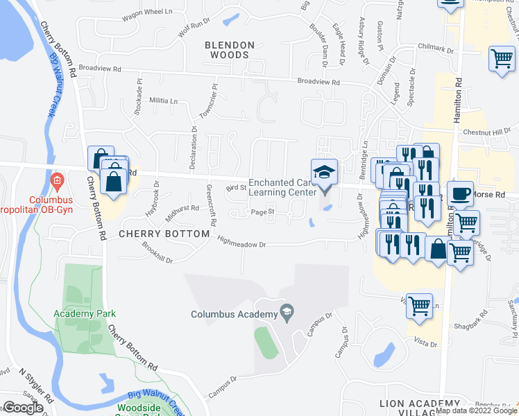 map of restaurants, bars, coffee shops, grocery stores, and more near 1390 Christopher Wren Dr in Gahanna