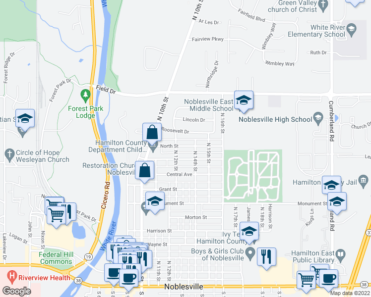 map of restaurants, bars, coffee shops, grocery stores, and more near 1339 North Street in Noblesville