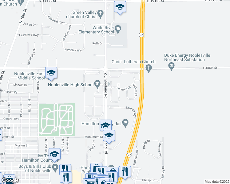 map of restaurants, bars, coffee shops, grocery stores, and more near 1100 Northlake Drive in Noblesville