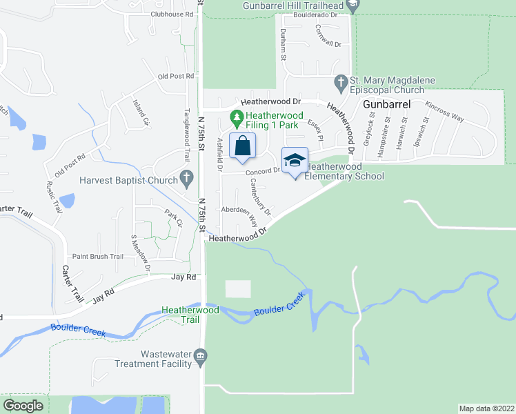 map of restaurants, bars, coffee shops, grocery stores, and more near 4493 Canterbury Drive in Boulder