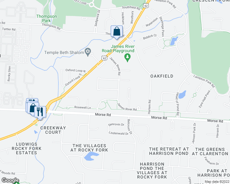 map of restaurants, bars, coffee shops, grocery stores, and more near 4039 James River Road in New Albany