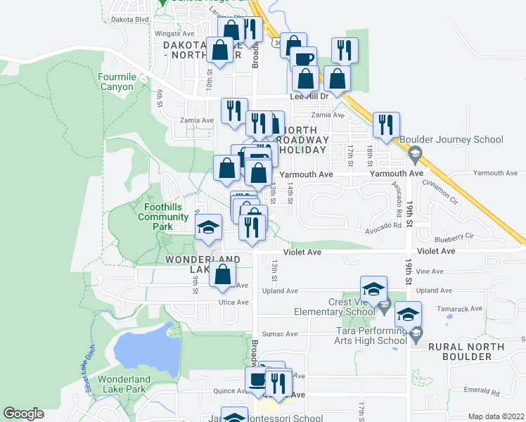 map of restaurants, bars, coffee shops, grocery stores, and more near 4520 Broadway in Boulder