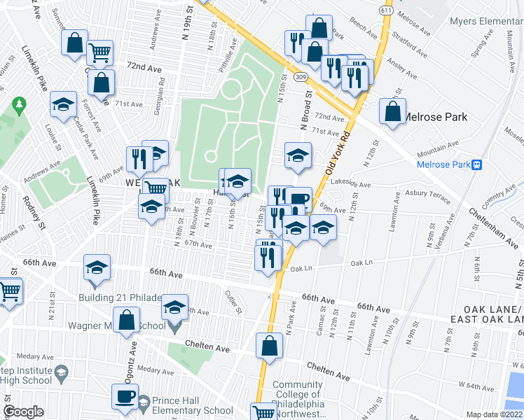 map of restaurants, bars, coffee shops, grocery stores, and more near North 15th Street in Philadelphia