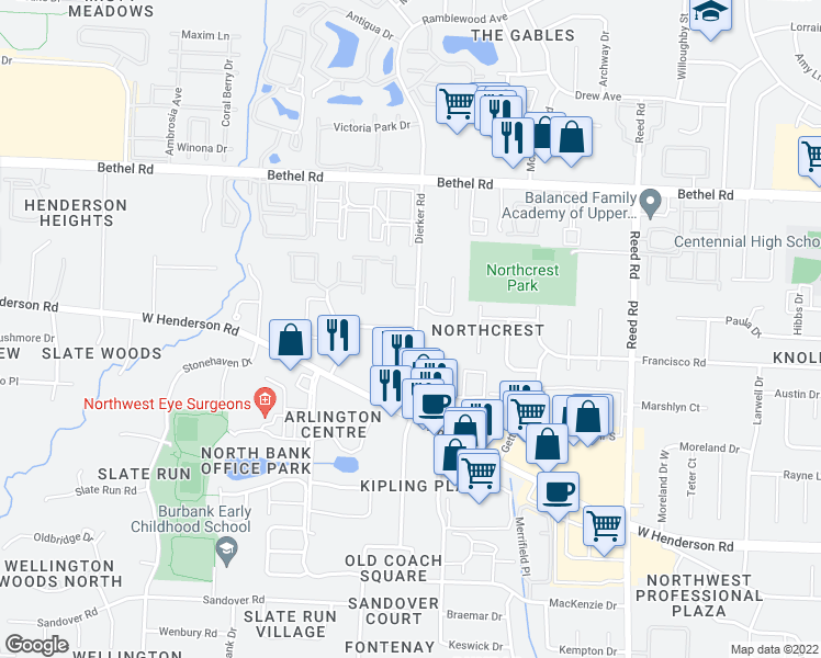 map of restaurants, bars, coffee shops, grocery stores, and more near Country Corners Dr in Columbus