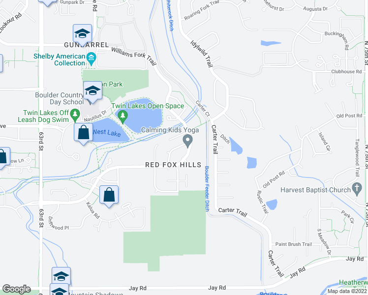 map of restaurants, bars, coffee shops, grocery stores, and more near 4746 Quail Creek Lane in Boulder