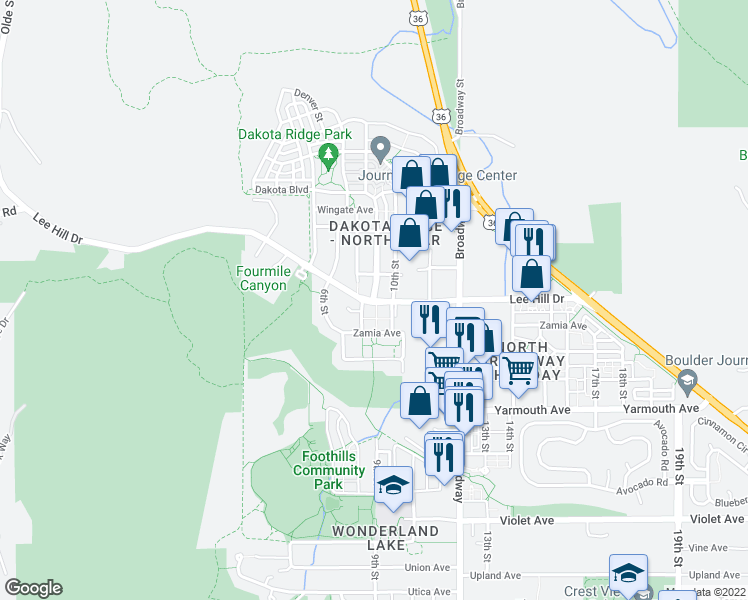 map of restaurants, bars, coffee shops, grocery stores, and more near Lee Hill Dr & Dakota Blvd in Boulder