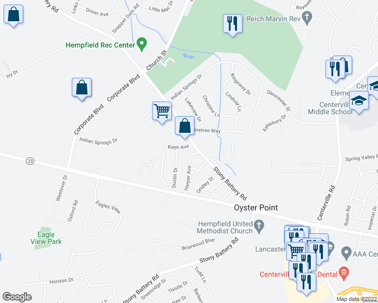 map of restaurants, bars, coffee shops, grocery stores, and more near 785 Dustin Drive in Lancaster