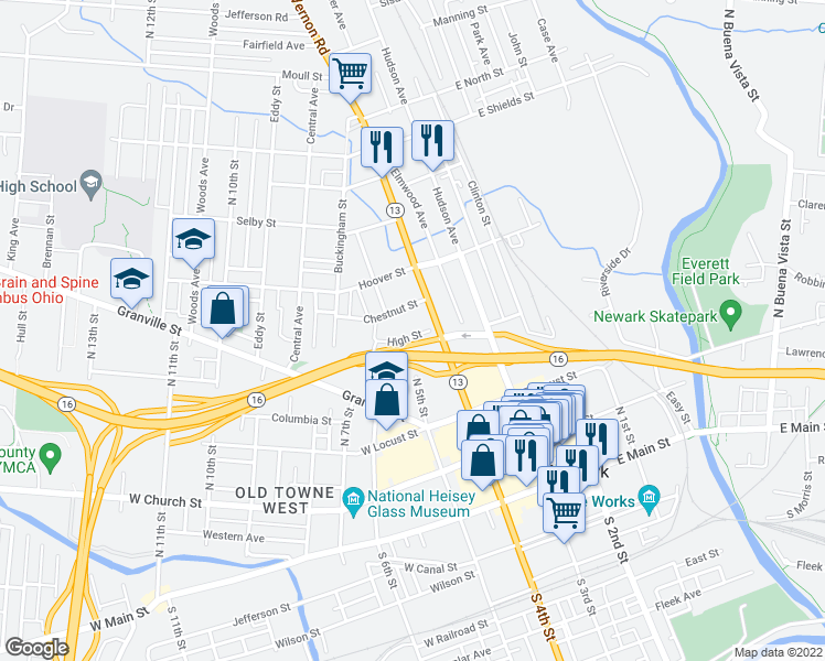 map of restaurants, bars, coffee shops, grocery stores, and more near 64 High Street in Newark