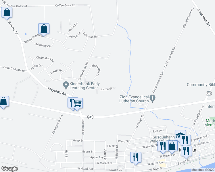 map of restaurants, bars, coffee shops, grocery stores, and more near 136 Nicole Street in Marietta