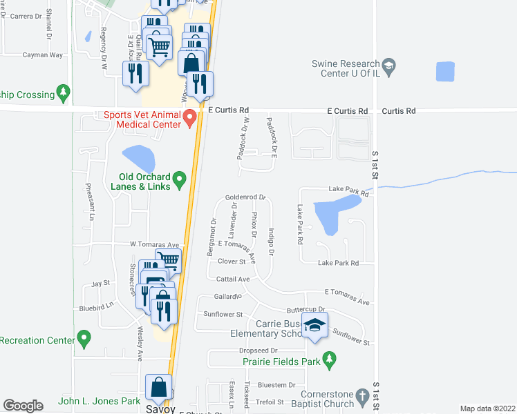 map of restaurants, bars, coffee shops, grocery stores, and more near 900 Phlox Drive in Savoy