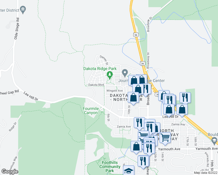 map of restaurants, bars, coffee shops, grocery stores, and more near 542 Dakota Boulevard in Boulder