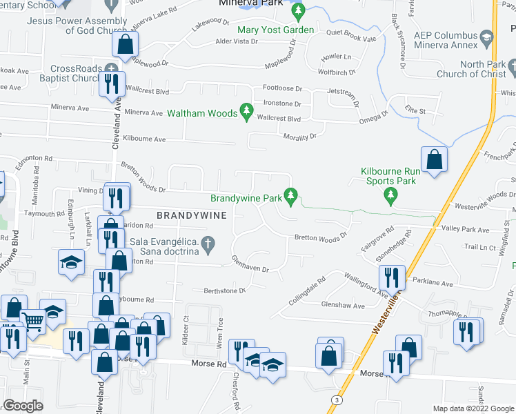 map of restaurants, bars, coffee shops, grocery stores, and more near Bretton Woods Dr & Chimney Point Dr in Columbus