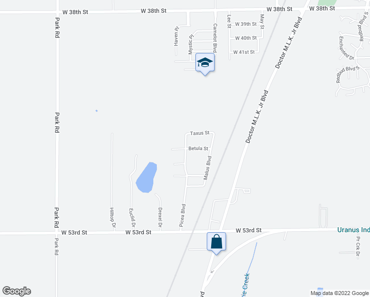 map of restaurants, bars, coffee shops, grocery stores, and more near 2902 Betula Street in Anderson