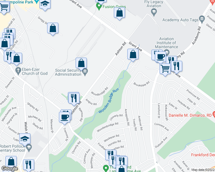 map of restaurants, bars, coffee shops, grocery stores, and more near 9457 Woodbridge Rd in Philadelphia