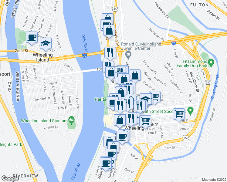 map of restaurants, bars, coffee shops, grocery stores, and more near 1121 Main Street in Wheeling