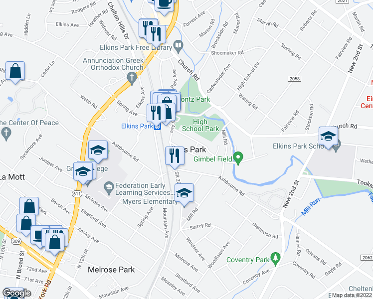 map of restaurants, bars, coffee shops, grocery stores, and more near in Montgomery County