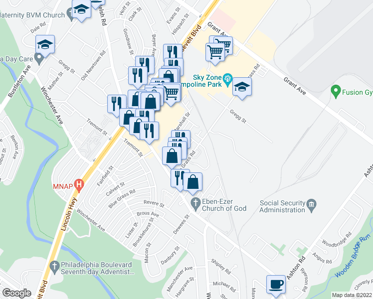 map of restaurants, bars, coffee shops, grocery stores, and more near 72 Bonnie Gellman Ct in Philadelphia