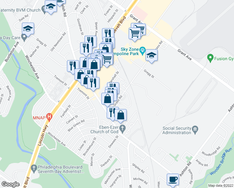 map of restaurants, bars, coffee shops, grocery stores, and more near 72 Bonnie Gellman Court in Philadelphia