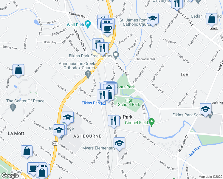 map of restaurants, bars, coffee shops, grocery stores, and more near 8000 High School Road in Elkins Park
