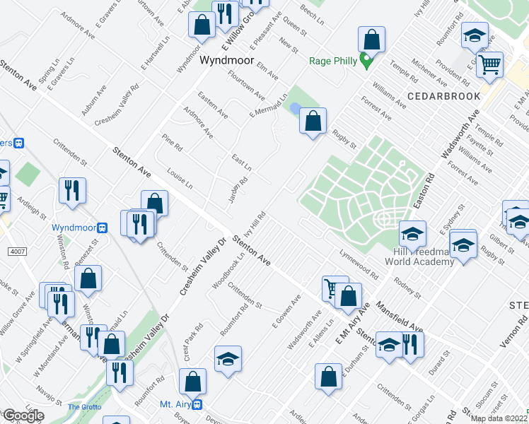 map of restaurants, bars, coffee shops, grocery stores, and more near 1000 Ivy Hill Road in Philadelphia