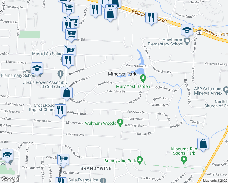 map of restaurants, bars, coffee shops, grocery stores, and more near Alder Vista Drive in Columbus