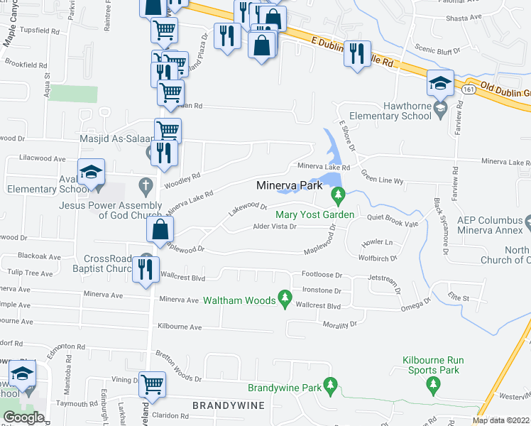 map of restaurants, bars, coffee shops, grocery stores, and more near 2729 Lakewood Dr in Columbus