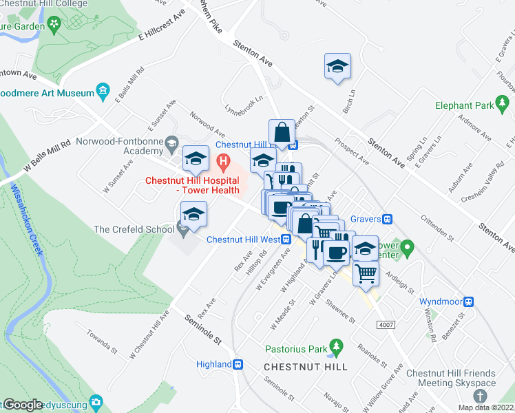 map of restaurants, bars, coffee shops, grocery stores, and more near 2 East Chestnut Hill Avenue in Philadelphia