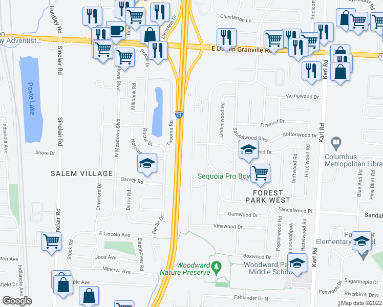 map of restaurants, bars, coffee shops, grocery stores, and more near 5599 Ironwood Court in Columbus