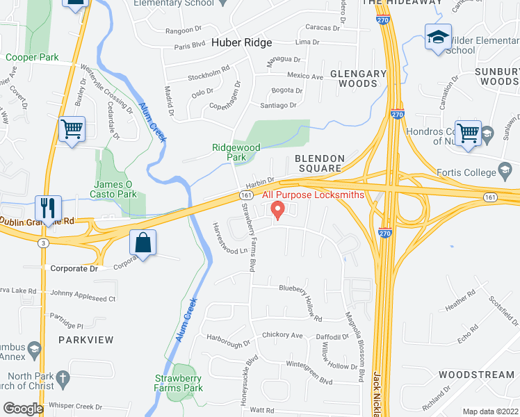 map of restaurants, bars, coffee shops, grocery stores, and more near 5362 Hoover Forest Lane in Columbus