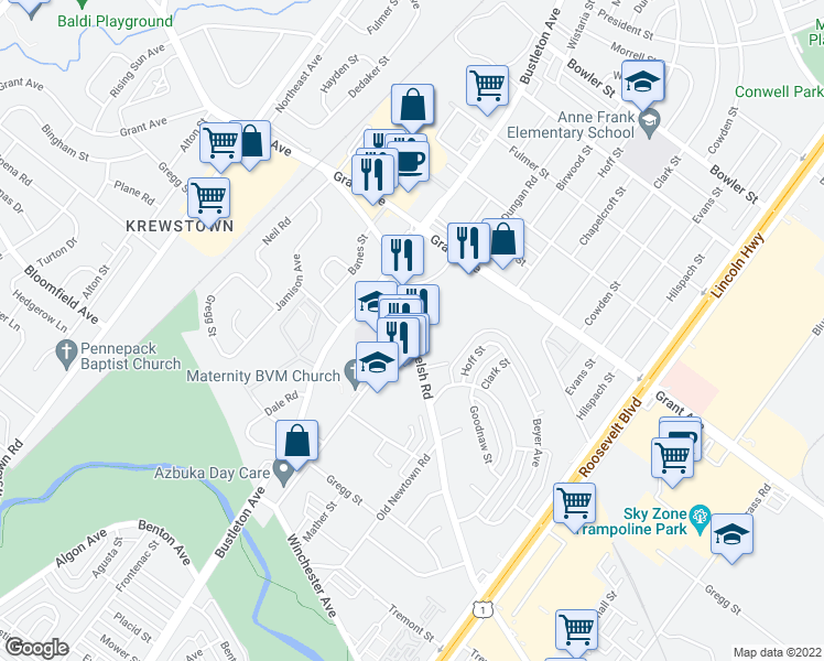 map of restaurants, bars, coffee shops, grocery stores, and more near 9331 Old Bustleton Avenue in Philadelphia