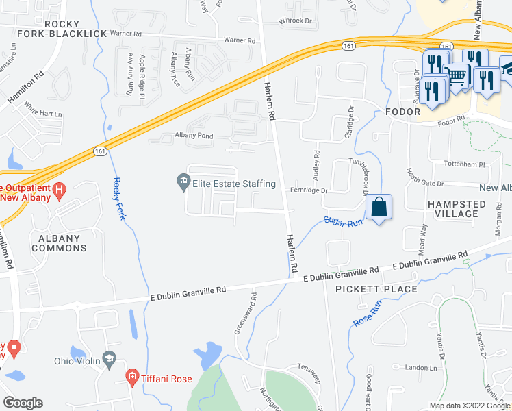 map of restaurants, bars, coffee shops, grocery stores, and more near 5082 Marks Court in New Albany