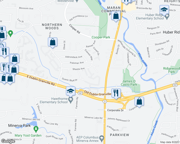 map of restaurants, bars, coffee shops, grocery stores, and more near 5470 Yellowbud Drive in Columbus