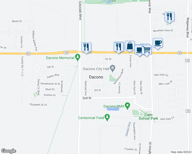 map of restaurants, bars, coffee shops, grocery stores, and more near 3162 Sweetgrass Parkway in Dacono