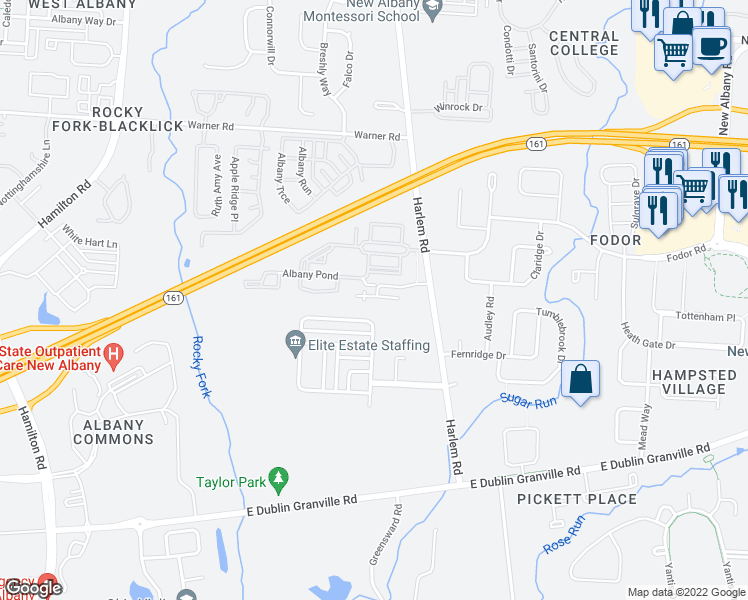 map of restaurants, bars, coffee shops, grocery stores, and more near 6709 Albany Station in New Albany