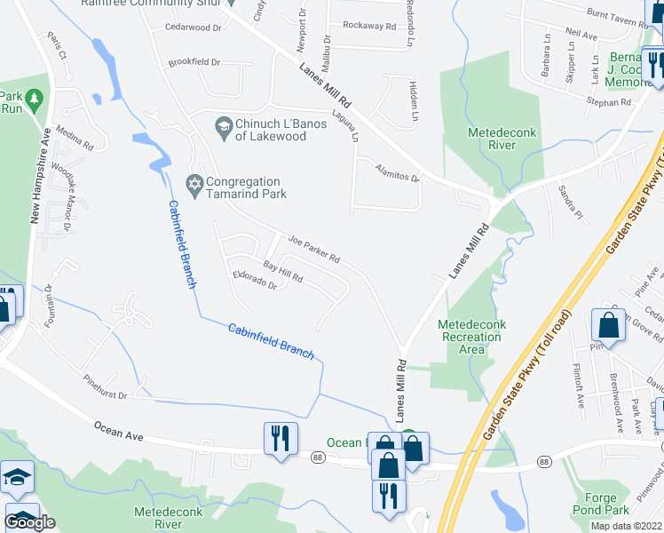 map of restaurants, bars, coffee shops, grocery stores, and more near 35 Jumping Brook Drive in Lakewood Township