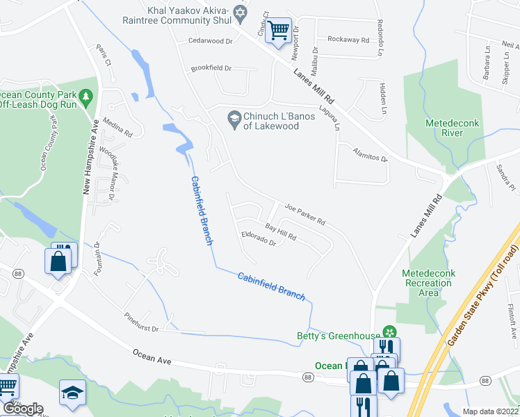 map of restaurants, bars, coffee shops, grocery stores, and more near 28 La Quinta Lane in Lakewood Township