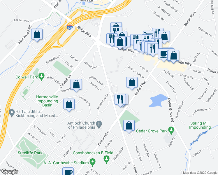 map of restaurants, bars, coffee shops, grocery stores, and more near 108 West North Lane in Conshohocken