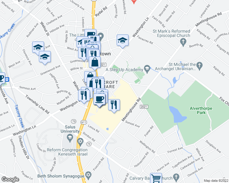 map of restaurants, bars, coffee shops, grocery stores, and more near 1250 Greenwood Avenue in Jenkintown