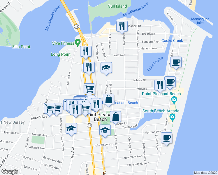 map of restaurants, bars, coffee shops, grocery stores, and more near 305 Saint Louis Avenue in Point Pleasant Beach
