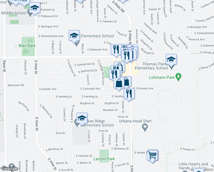 map of restaurants, bars, coffee shops, grocery stores, and more near 1102 East Colorado Avenue in Urbana